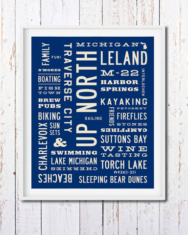 Up North Print, Michigan Wall Art Poster, Word Art by Transit Design