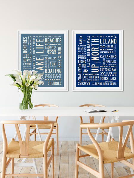 Up North Lake Life Posters by Transit Design. Michigan Wall Art.