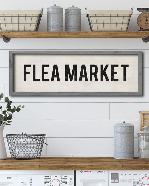 Vintage Flea Market Sign - Hand-Painted Wood Sign by Transit Design
