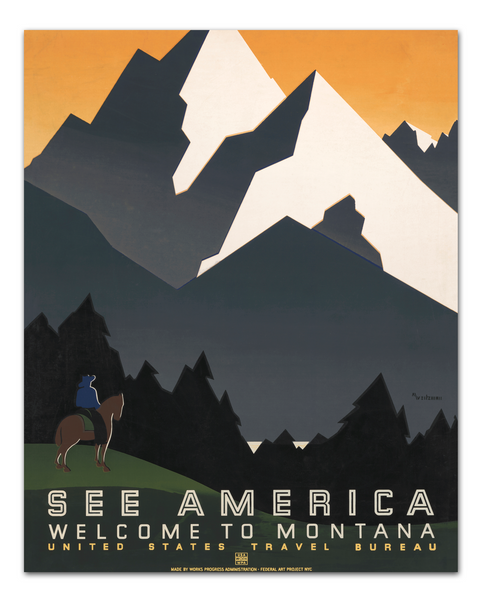 See America Poster, WPA Poster, Montana Poster, Transit Design.