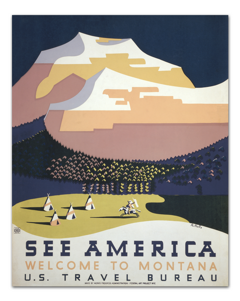 See America Poster, WPA Poster, Montana Poster Art by Transit Design.