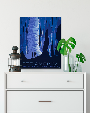 See America Posters. Carlsbad Caverns, WPA Poster. Transit Design.