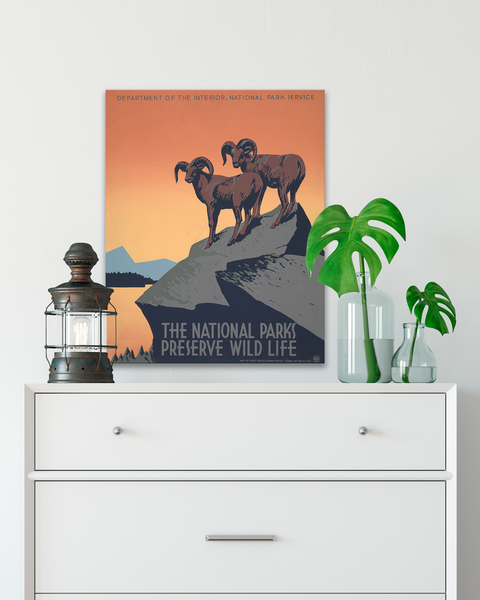WPA Poster, National Parks Poster, Big Horn Sheep Poster by Transit Design.
