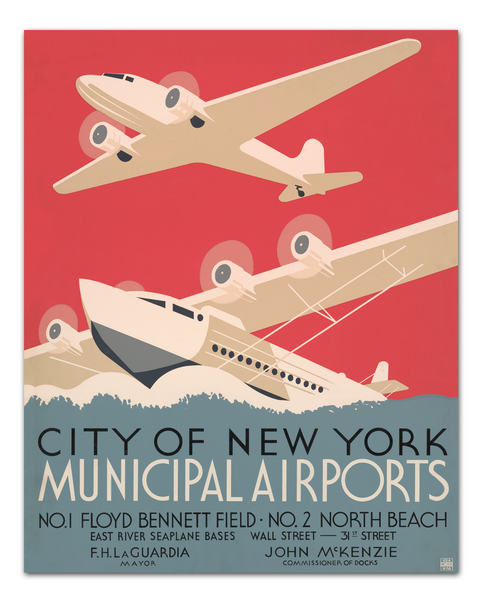 WPA Poster, New York Municipal Airports Poster, 1930s Art Deco, Transit Design.