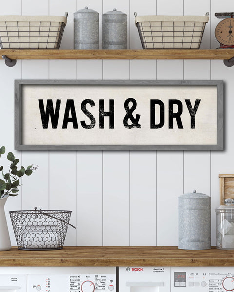 Vintage Laundry Sign, Wash & Dry Wall Signs by Transit Design