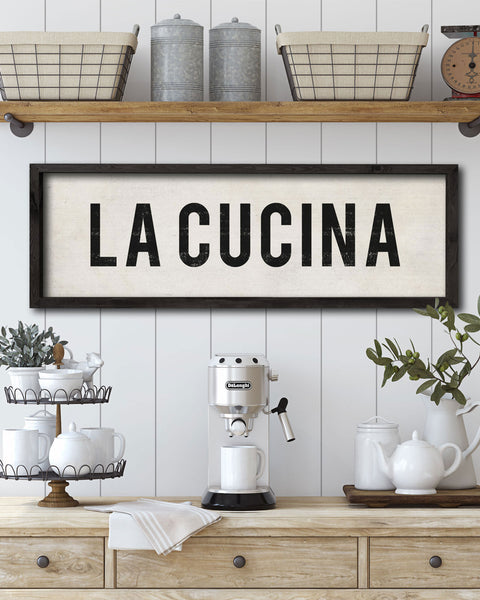Rustic La Cucina Kitchen Signs, Tuscan Kitchen Decor - Transit Design