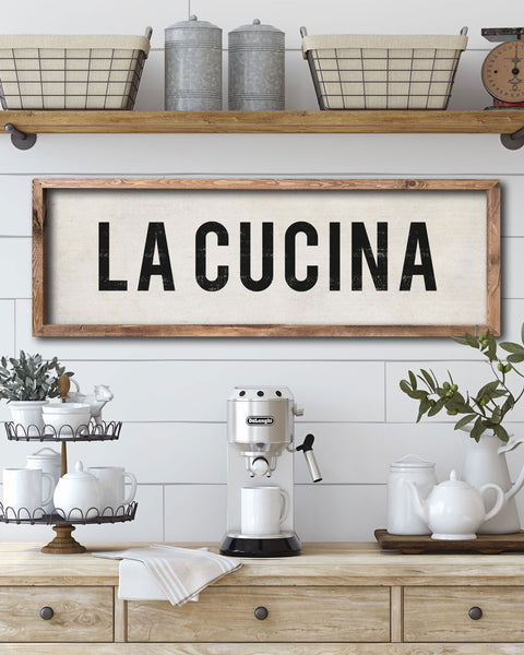 La Cucina Kitchen Sign, Italian Kitchen Wall Art - Transit Design