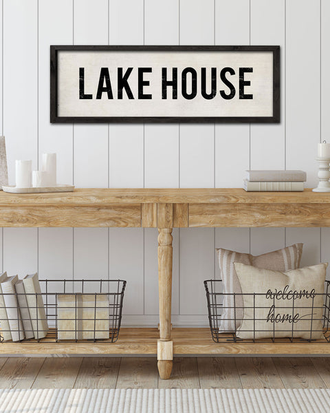 Wood Lake House Sign, hand-painted wall signs by Transit Design