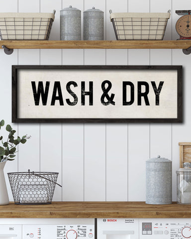 Farmhouse Style Decor, Rustic Wash & Dry Laundry Signs by Transit Design