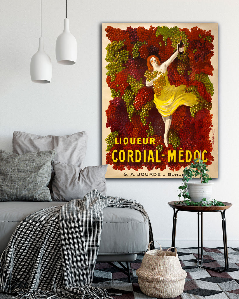 Oversized Canvas Art by Leonetto Cappiello. Cordial Medoc. Transit Design.