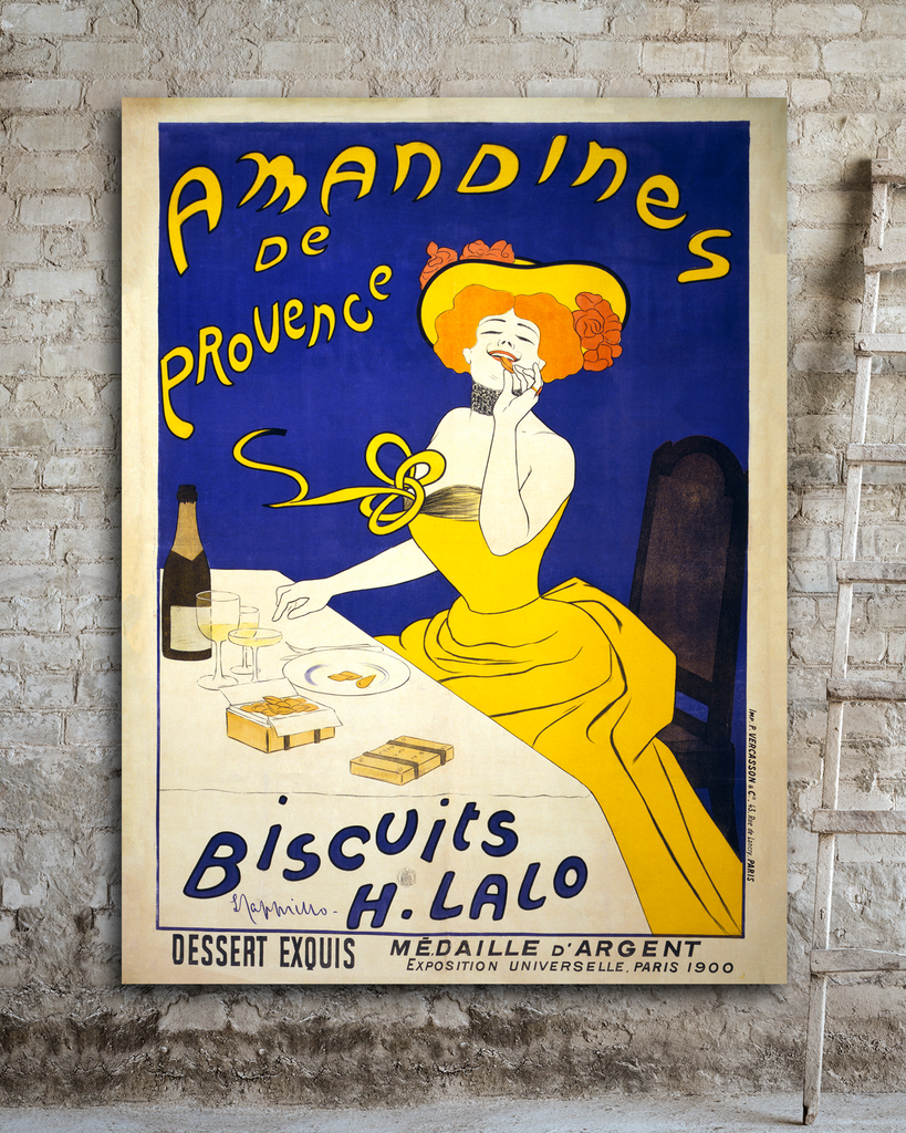 Vintage Advertising Poster. Almond Biscuits. Leonetto Cappiello. Transit Design.