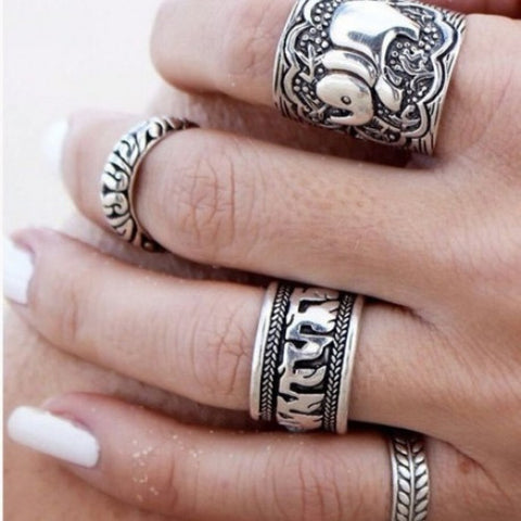 Elephant Totem Leaf Lucky Ring Set -Free Shipping - Gi Gi's Gift Guide