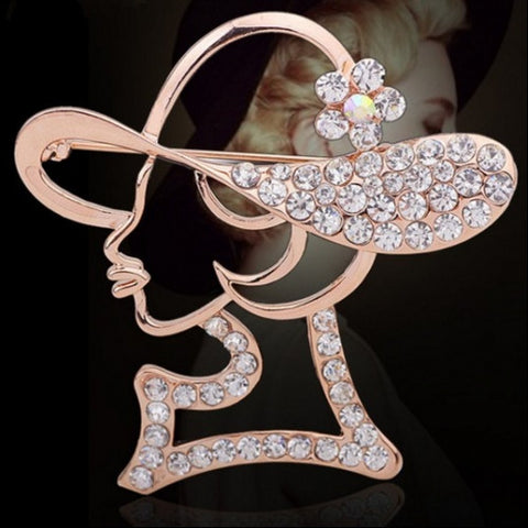 Lovely Pink Lady Crystal Pin Brooch - Gi Gi's Gift Guide