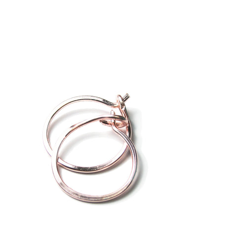 Heart in Hawaii Handmade Tiny 12mm Rose Gold Hoop Earrings