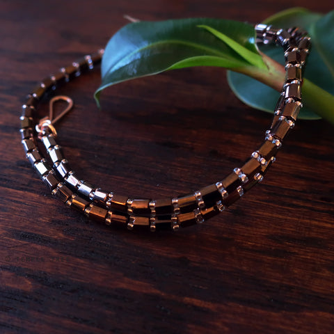Temple Tree Bamboo Weave Beaded Face Mask Lanyard - Short 14-inch Length - Bronze/Rosegold