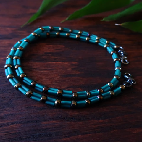 Temple Tree Bamboo Weave Beaded Face Mask Lanyard - Short 14-inch - Teal Bugles