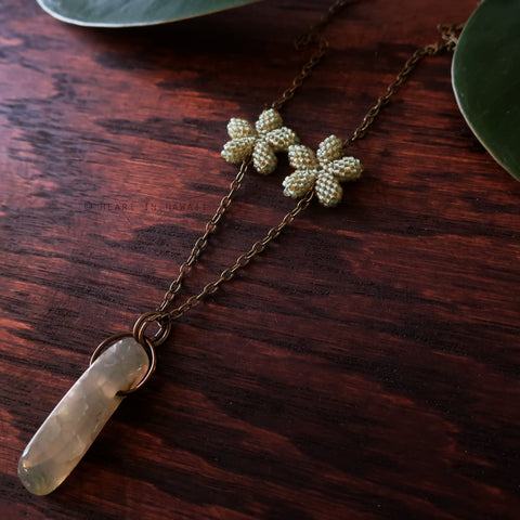 Heart in Hawaii Lei Flower Necklace - 2 Plumeria on 24-inch chain - Moss