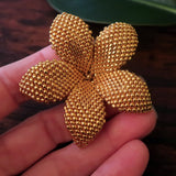 Heart in Hawaii 2 Inch Beaded Plumeria Flower Brooch - 24kt Gold Plated