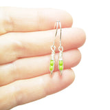 Tiny Pea Pod Earrings - 2 Mint Green Peas in Silver or Gold Pods
