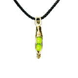 Tiny Pea Pod Pendant - 2 Green Peas in a Silver or Gold Pod