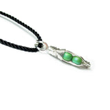 Tiny Pea Pod Pendant - 2 Peas in a Gold or Silver Pod - Scarab