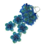 Heart in Hawaii Triple Flower Long Dangle Earrings - Peacock