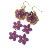 Heart in Hawaii Hibiscus and Plumeria Long Dangle Earrings - Ultraviolet