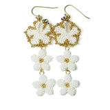 Heart in Hawaii Hibiscus and Plumeria Long Dangle Earrings - White with Gold