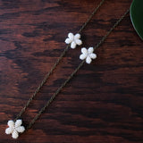 Heart in Hawaii Lei Flower Necklace - 3 Plumeria on 30-inch Bronze Chain