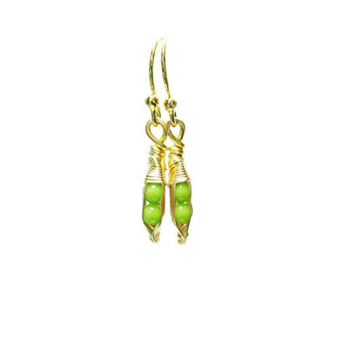 Tiny Pea Pod Earrings - 2 Green Peas in Silver or Gold Pods
