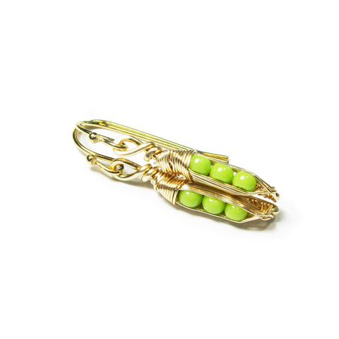 Tiny Pea Pod Earrings - 3 Green Peas in Silver or Gold Colored Pods
