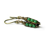 Tiny Pea Pod Earrings - 3 Jade Green Peas in Bronze Pods