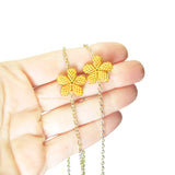 Heart in Hawaii Lei Flower Necklace - 3 Plumeria on 30-inch Gold-tone Chain
