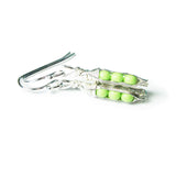Tiny Pea Pod Earrings - 3 Mint Green Peas in Silver Pods