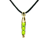 Tiny Pea Pod Pendant - 3 Green Peas in a Gold or Silver Pod