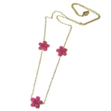 Heart in Hawaii Lei Flower Necklace - 3 Plumeria on 30-inch chain - Ruby Pink