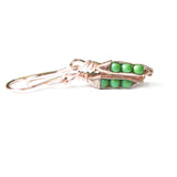 Tiny Pea Pod Earrings - 3 Peas in a Pod - Rose Gold
