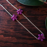 Heart in Hawaii Lei Flower Necklace - 3 Plumeria on 30-inch Silver-tone Chain