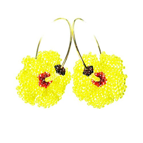 Heart in Hawaii Beaded Hibiscus Hoops - Morning Hau Flowers