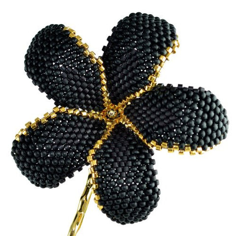 Heart in Hawaii Beaded Plumeria Flower - Matte Black and Gold