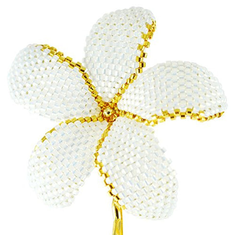 Heart in Hawaii Beaded Plumeria Flower - Sparkly White Satin with Gold Outline