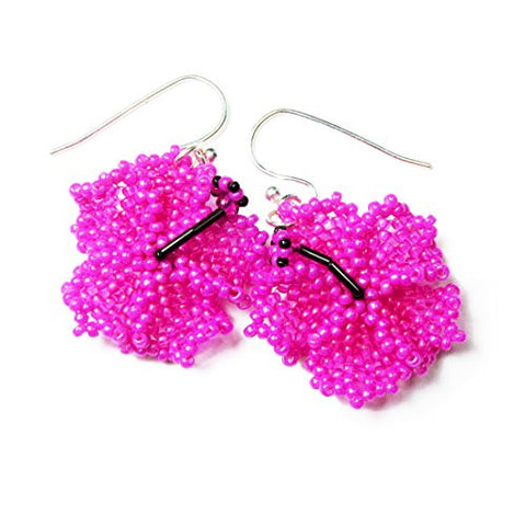 Heart in Hawaii beaded hibiscus earrings - Fuchsia Pink