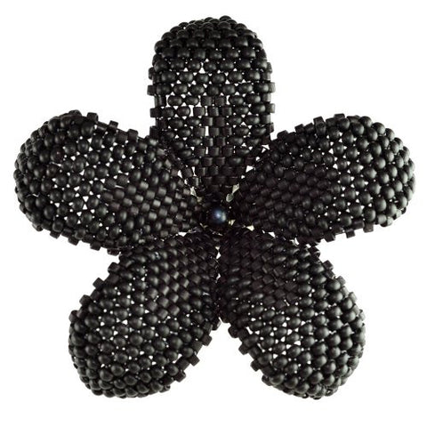 Heart in Hawaii Beaded Plumeria Flower Brooch - Matte Black