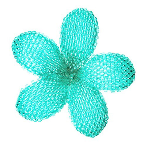 Heart in Hawaii Beaded Plumeria Flower Brooch - Aqua Blue
