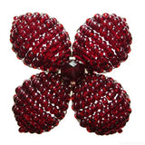 Makalapua 4 Petaled Beaded Flower Brooch - Garnet