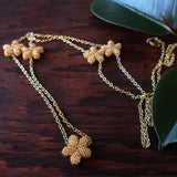 Heart in Hawaii Lei Flower Necklace - 5 Plumeria on 36-inch extra long Chain