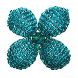Makalapua 4 Petaled Beaded Flower Brooch - Teal