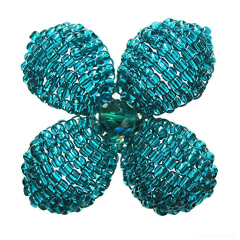 Heart in Hawaii Makalapua Quatrefoil Beaded Flower Brooch - Teal