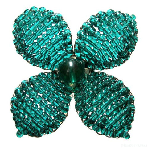 Makalapua 4 Petaled Beaded Flower Brooch - Emerald