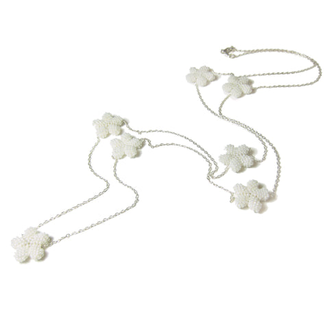 Heart in Hawaii Lei Flower Necklace - 7 Plumeria on 38-inch extra long Chain